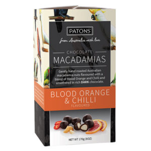 Artisan Dark Chocolate Blood Orange and Chilli Macadamias